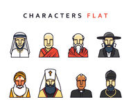 characters in flat style. Set of religious figures of different religions in the world .  characters in flat style. Characters icons men religious Royalty Free Stock Image