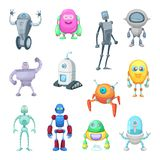 Characters of funny robots in cartoon style. Vector mascot set of androids and astronauts. Character machine android, robot with antenna illustration Stock Images