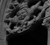 The characters gather on the cloister part 2. Shot in black and white, detail on the sculpture on the cloister of this historic church Santa Maria la Real royalty free stock images