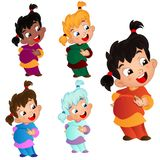Vector illustration set of characters girl with emotions with tw vector illustration