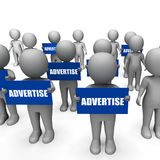 Characters Holding Advertise Signs Show. Ing Merchandising Or Product Marketing Strategy Royalty Free Stock Images