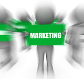 Characters Holding Marketing Signs Displays Commerce And Promoti Royalty Free Stock Photo