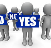 Characters Holding No Yes Signs Show Uncertain Stock Photo
