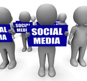 Characters Holding Social Media Signs Mean Stock Images