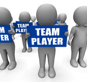 Characters Holding Team Player Signs Show. Teamwork Partnership Or Teammate Stock Photos