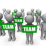 Characters Holding Team Signs Show Strength Royalty Free Stock Photo