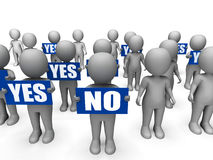 Characters Holding Yes No Signs Mean Uncertain Stock Photo