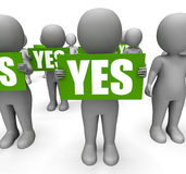 Characters Holding Yes Signs Mean Agreement Royalty Free Stock Photography