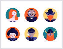 Characters icon set. Bookstore and cinema subjects, flat icons set Stock Photo