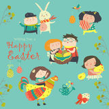 Characters and icons on the Easter theme in cartoon style Stock Image