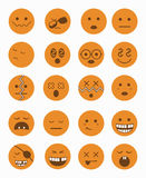 20 characters icons set 2 orange. 20 characters icons set 2 in orange color stock illustration