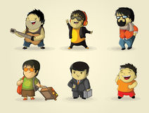 Characters involved various activities Royalty Free Stock Images