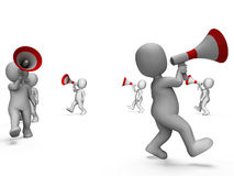 Characters With Loudhailers Shows Announcing. Characters With Loudhailers Showing Announcing Info Or Shouting Royalty Free Stock Image