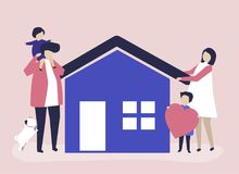 Characters of a loving family and their house illustration stock illustration