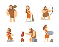 Characters of male and female. Primitive cave people from prehistoric period. Caveman prehistoric male and female, barbarian hunter. Vector illustration Stock Images