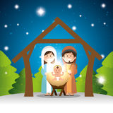 Characters manger merry christmas design Royalty Free Stock Photo