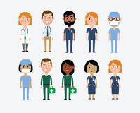 Characters in Medical Occupations. Illustration Of Characters Depicting Medical Occupations Royalty Free Stock Photo