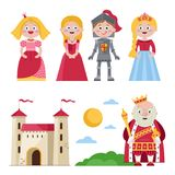 Characters of medieval tales with castle. Set of cartoon princesses with knight and king near kingdom castle on white background Stock Image