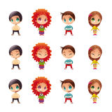 Characters with normal - blinked eyes - open mouth positions. royalty free illustration
