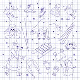 Characters and objects on notebook sheet Stock Images
