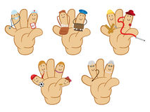 Characters offices hands. Like puppets Royalty Free Stock Photo