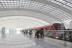 Characters: passengers, the crowd, theme: quick, prosperity, the station, subway station, indoor, in the daytime, the subway, comm. Beijing international airport Royalty Free Stock Photography