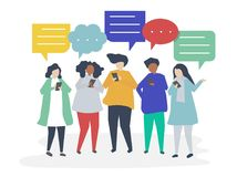 Characters of people chatting through smartphones illustration vector illustration