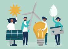 Characters of people holding green energy icons vector illustration
