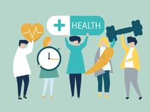 Characters of people holding health icons illustration vector illustration