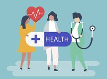 Characters of people holding healthcare icons illustration stock illustration