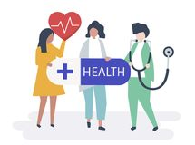 Characters of people holding healthcare icons illustration royalty free illustration
