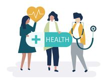 Characters of people holding healthcare icons illustration vector illustration