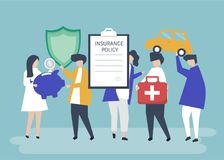 Characters of people holding insurance icons illustration vector illustration