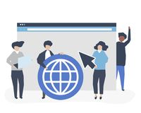 Characters of people holding internet search icons illustration vector illustration