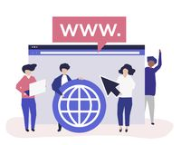 Characters of people holding internet search icons illustration stock illustration