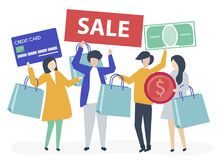 Characters of people holding shopping icons illustration vector illustration