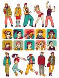 characters people set icons and figures. Separated set with people figures and characters icons. Color vector illustration Stock Photography
