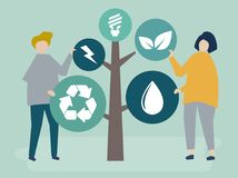 Characters of people and a tree of environmental icons illustration royalty free illustration