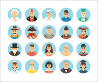 Characters and persons icons collection. Icons set illustrating people occupations, lifestyles, nations and cultures. Persons icons collection. Characters icons Stock Images