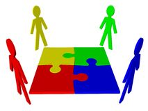 Characters and puzzle - business team, teamwork Stock Photos