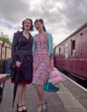Characters in 40's costume. At East Lancs Railway 40's weekend. Lancashire, UK stock photo