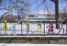 Characters on a school fence Royalty Free Stock Photos