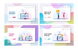 Free Characters Sending Messages Landing Page Template Set. Tiny People At Huge Smartphone And Tablet Holding Envelopes Stock Images - 195695054