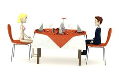 Characters sits on restaurant (businessman and woman in swimsuit) Royalty Free Stock Image