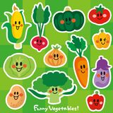 Characters of smiling cute vegetables stock illustration