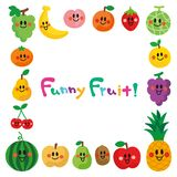 Characters of smiling fruits.frame. stock illustration