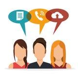 Characters social media bubble speech Stock Image