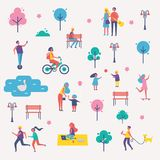 Characters Spend Leisure Time in Spring Park Set Stock Images