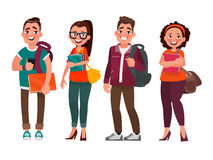 Characters of students on a white background. Vector illustratio Stock Images