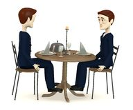 Characters in suits sits on restaurant Royalty Free Stock Images